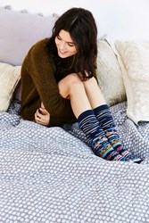 Urban Outfitters Winter Fair Isle Over The Knee Sock Blue Multi