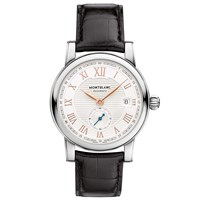 Montblanc 113879 Men's Star Roman Small Second Carpe Diem Date Special Edition Leather Strap Watch Black White