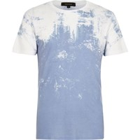 River Island Mens White And Blue Textured Faded Print T Shirt