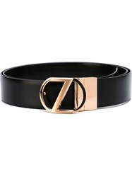 Z Zegna Metallic Logo Buckle Belt Black