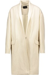Isabel Marant Manteau Ribbed Linen And Wool Blend Twill Coat Off White