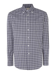 T.M.Lewin Country Check Classic Fit Long Sleeve Shirt Navy