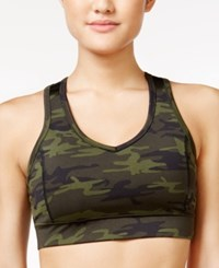 Jessica Simpson The Warm Up Juniors' Mesh Back Sports Bra Forest Camo Jet Black