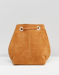 Asos Suede Backpack With Eyelet Detail Tan