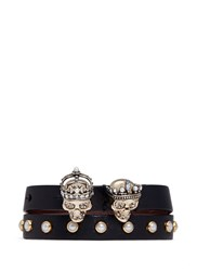 Alexander Mcqueen 'King And Queen' Skull Double Wrap Leather Bracelet Black
