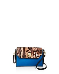 Mcm Milla Animal Print Clutch Bright Blue