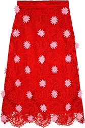 House Of Holland Paisley Guipure Lace Skirt Red