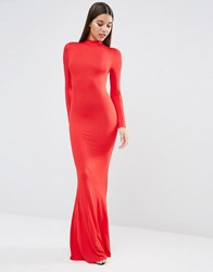 Club L High Neck Jersey Maxi Dress In Red Red