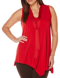 Rafaella Plus Plus Sleeveless Solid Knit Crepe Top Red