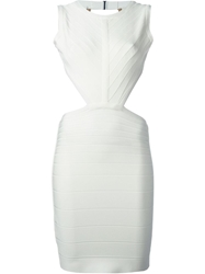Herve Leger Fitted Backless Dress White