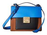 Salvatore Ferragamo Marisol 21F564 Ecorce Blue Indien Nero Satchel Handbags Multi