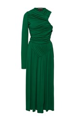 Rochas Draped One Shoulder Midi Dress Green