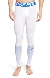 Men's Nike 'Hypercool Max' Dri Fit Training Tights White White Metallic Blue