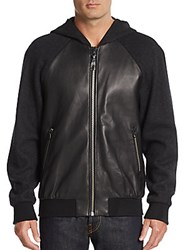 Mackage Leather Paneled Knit Hoodie Black