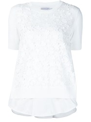 Moncler Floral Applique Top White