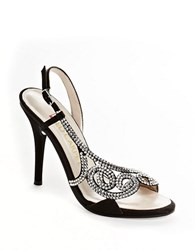 E Live From The Red Carpet Rhinestone Embellished Sandals Black Satin
