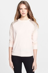 Ted Baker London 'Faira' Embellished Shoulder Merino Wool Silk And Cashmere Sweatshirt Pink