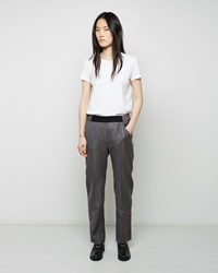 Maison Martin Margiela Wool Gabardine Trousers Grey Melange And Black