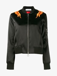 Paco Rabanne Bomber Jacket With Flame Shoulders Black Orange Yellow Flame