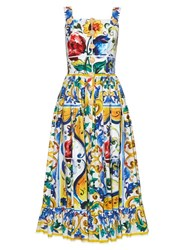 Dolce And Gabbana Majolica Print Frilled Hem Dress White Multi