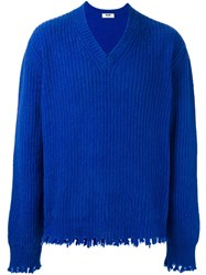 Msgm Frayed Ribbed Pullover Blue