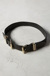 Anthropologie Double Buckle Belt Black Gold
