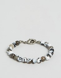 Seven London Marbled Beaded Bracelet Exclusive To Asos White Grey Multi