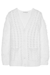 Michael Kors Cable Knit Mohair Blend Cardigan White