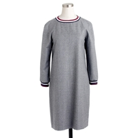 J.Crew Petite Collection Wool Flannel Varsity Dress Hthr Grey