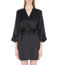 Nk Imode V Neck Silk Satin Dressing Gown Black Black Lace