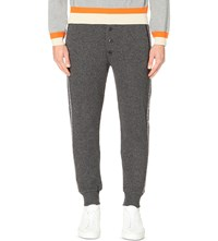 Tomorrowland Contrast Panel Wool Blend Jogging Bottoms Charcoal