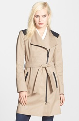 Mackage Leather Trim Asymmetrical Zip Trench Coat Sand