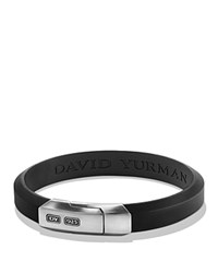 David Yurman Streamline Black Rubber Id Bracelet In Sterling Silver Black Silver