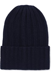 The Elder Statesman Short Bunny Echo Ribbed Cashmere Beanie Navy