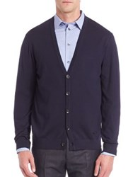 Armani Collezioni Long Sleeve Wool Cardigan Navy