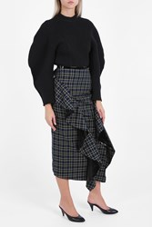 A.W.A.K.E. Checkered Ruffle Skirt Grn Blue