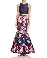 Aqua Floral Print Two Piece Gown Navy Pink