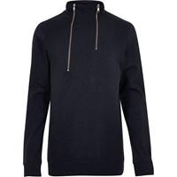 Only And Sons River Island Mens Navy High Zip Neck Jumper