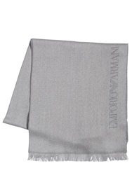 Emporio Armani Wool Knit Two Face Scarf Grey Beige