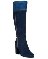 Rialto Cordelia Patchwork Dress Boots Women's Shoes Navy