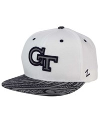 Zephyr Georgia Tech Yellow Jackets Lahaina Snapback Cap White Navy Reflective Silver