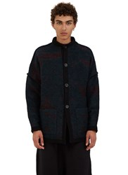 Marvielab Oversized Reversible Two Tone Mohair Knit Mao Jacket Blue