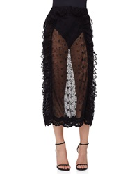 Simone Rocha Sheer Floral Lace Pencil Skirt Black