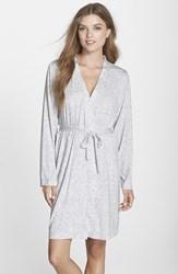 Women's Dkny 'City Essentials' Short Robe Light Grey Heather
