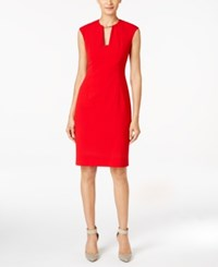 Calvin Klein Keyhole Collar Sheath Dress Red