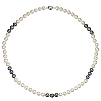 A B Davis Two Tone Spaced River Pearl Necklace Black White