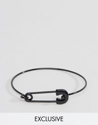 Designb London Safety Pin Bangle Bracelet In Black Black