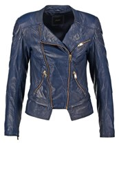 Guess Suzen Leather Jacket Hawaiin Blue