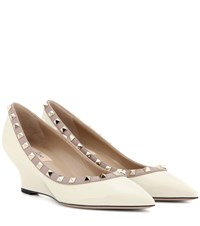 Valentino Rockstud Patent Leather Wedge Pumps Neutrals