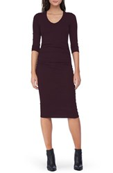 Michael Stars Women's Side Ruched Midi Dress Pinot